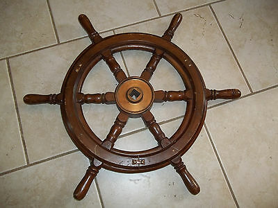 """Authentic BRASS AND WOOD BOAT STEERING SHIPS WHEEL 24"""" OLD ORIGINAL VINTAGE Helm"""