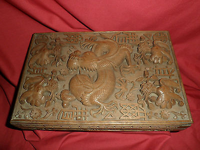 Antique Oriental Wooden Box With Carved Imperial Dragon Detail 2