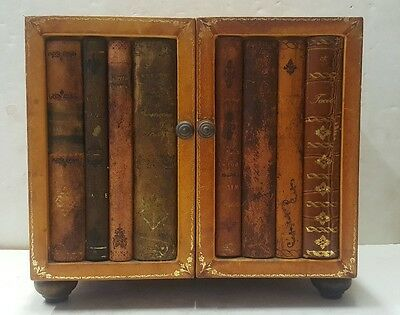 Vintage WOODEN LEATHER BOUND CHEST BOX with Antique Book Spines Decorative