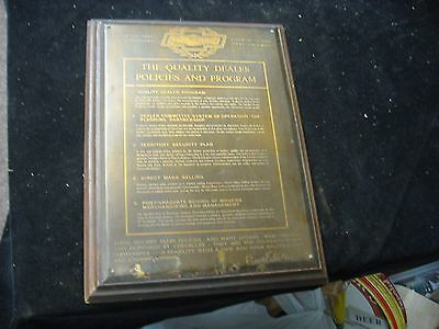 Vintage CHEVROLET Franchise Quality Dealer Policies and Program Plaque