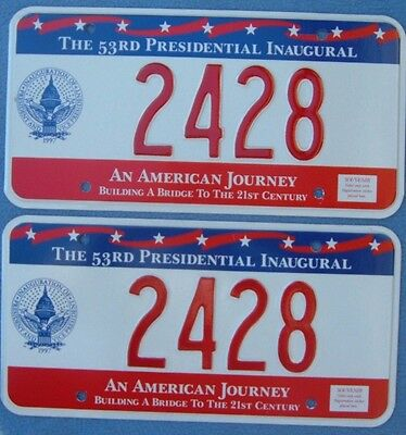 PAIR 1997 BILL CLINTON Inaugural License Plates DC     2428