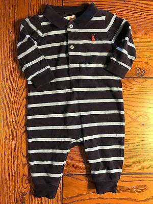 *RALPH LAUREN* Boys Navy & Light Blue Striped Polo Style Long Romper Longall  3M
