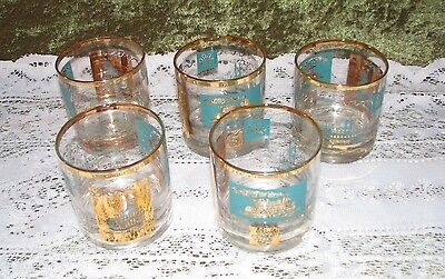 """Vintage Lot Of 5 Southern Comfort Glasses Turquoise Gold Steam Boat 3 1/8"""" Tall"""