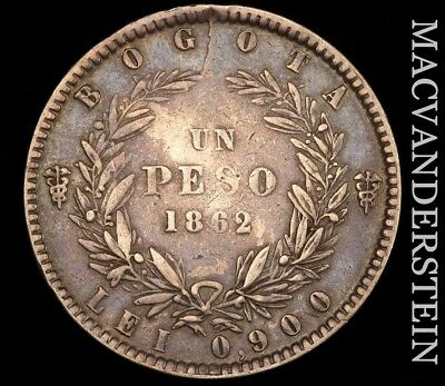 Colombia: 1862 One Peso- Scarce !! Better Date !! #h4138