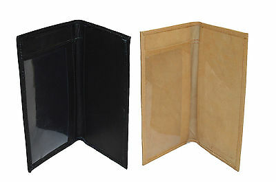 Checkbook Cover Plain Set Of 2 Black Tan Genuine Leather New Great Gift Idea