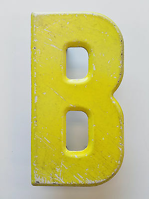 Vintage Letter B Yellow 7 1/2 in Industrial Metal Sign Beveled Edge Patina 7.5