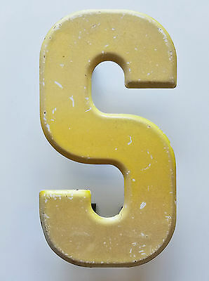 Vintage Letter S Yellow 7 1/2 in Industrial Metal Sign Beveled Edge Patina 7.5