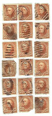 18 US #283 10¢ Type II Webster Stamps in Used Condition