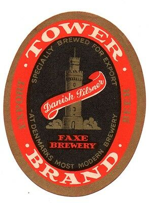 1930s FAXE BREWERY, FAXE, DENMARK TOWER BRAND BEER LABEL