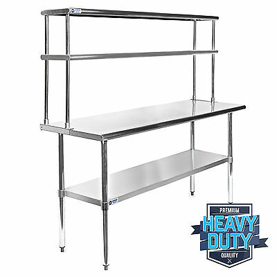 "Stainless Steel Commercial Kitchen Prep Table with Double Overshelf- 30"" x 60"""