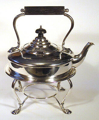 1800s Antique HARRODS Silverplate HOT WATER TEA KETTLE ON STAND Teapot O&B N/R