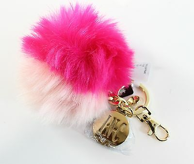INC NEW Bright Blush Pink Colorblock Faux Fur Pom-Pom Key Ring Accessorie- #357
