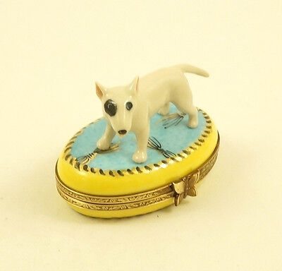 New French Limoges Trinket Box Bull Terrier Dog Puppy On Blue Rug W Gold Tassels