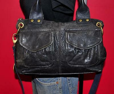 FOSSIL MODERN CARGO Black Leather Crossbody Convertible Tote Purse Shoulder Bag