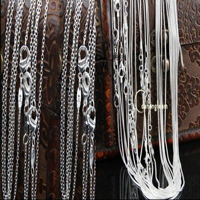 """Bulks Lots 1MM-2MM Snake Chain 925 Silver Plated Necklace Chain 16""""18""""20""""22""""24"""""""
