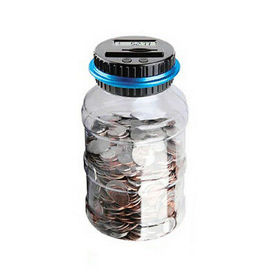 LCD Digital Coin Counting Money Saving Box Jar Piggy Bank Accept All US Coins