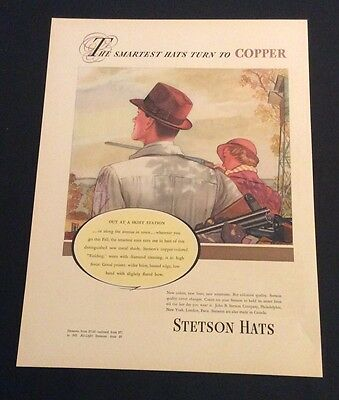 1937 Stetson Hats Print Ad - The Smartest Hats Turn To Copper
