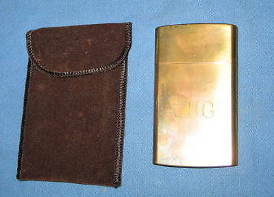 Vintage CHAS T. KENNEDY Cigarette / Match Holder BRASS No. 9 in Cloth Pouch