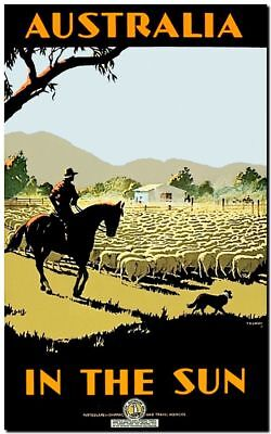 "Vintage Illustrated Travel Poster CANVAS PRINT Australia Sun sheep 8""X 12"""