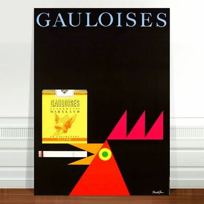 "Vintage Cigarette Advert Poster Art ~ CANVAS PRINT 16x12"" Gauloises chicken"