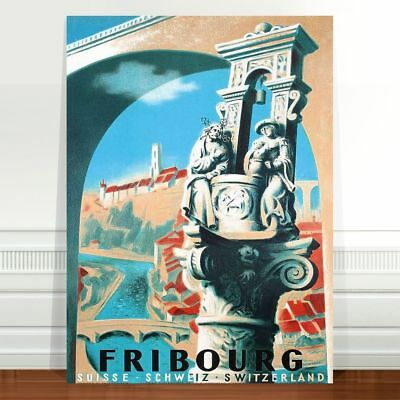 "Vintage Travel Poster Art ~ CANVAS PRINT 16x12"" ~ Fribourg Switzerland"