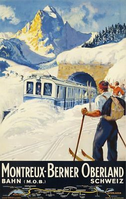 "Vintage Travel Poster CANVAS PRINT Germany By Train 8""X 12"""
