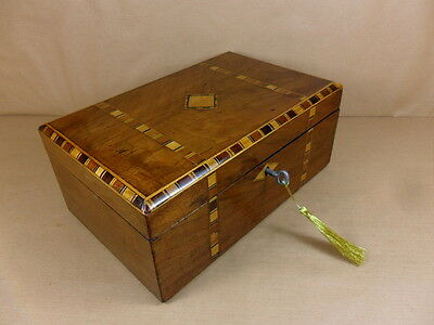 ANTIQUE VICTORIAN WALNUT  PARQUETRY  JEWELLERY/SEWING  BOX.C1850-1860 (Code 428)