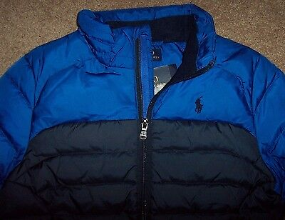 NWT Polo Ralph Lauren $135 PACKABLE Navy/ROYAL Blue DOWN Puffer Coat Boys 4 NICE