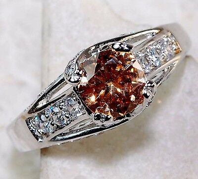 2CT Padparadscha Sapphire & Topaz 925 Sterling Silver Ring Jewelry Sz 6, T1-8