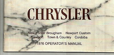 1975 Chrysler Cordoba, Newport, New Yorker, Town & Country Owner's Manual