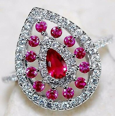 1CT Ruby & White Topaz 925 Solid  Sterling Silver Ring Jewelry Sz 6, T2-8