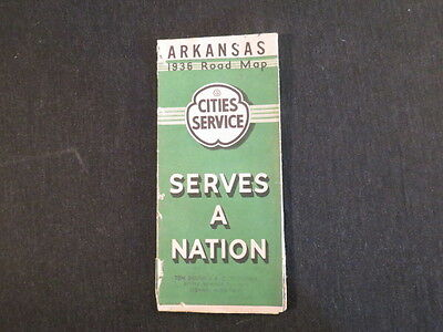Arkansas 1936 Road Map Cities Service Serves a Nation