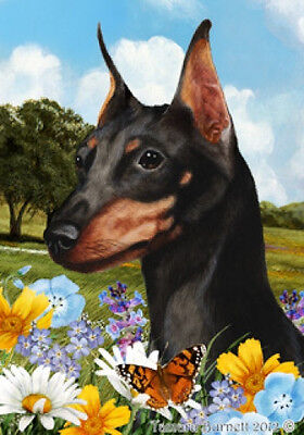 Garden Indoor/Outdoor Summer Flag - Black & Tan Miniature Pinscher 182221