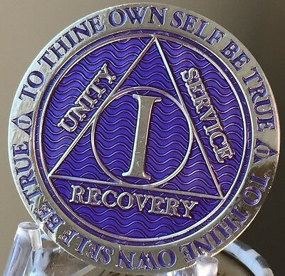 Recoverychip 1 Year AA Medallion Reflex Purple Silver Plated Sobriety Chip Coin