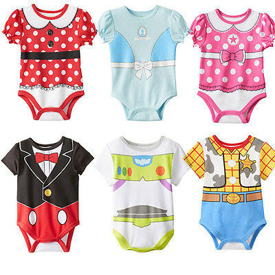 Baby Cotton Short Sleeve Disney Romper Boys Girls Party Bodysuit Baby Clothes