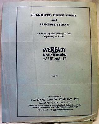 Eveready Radio Batteries Advertising Price List Sheet & Specifications 1940