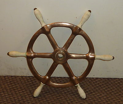 "Vintage brass/bronze ships helm steering wheel nautical maritime 19"" - FREE POST"