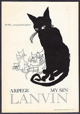 "1958 Black Cat & Kittens photo ""Most Provocative"" Lanvin MY SIN Perfume print ad"