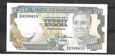 ZAMBIA #32b 1991 UNCIRCULATED 20 KWACHA OLD BANKNOTE PAPER MONEY CURRENCY NOTE