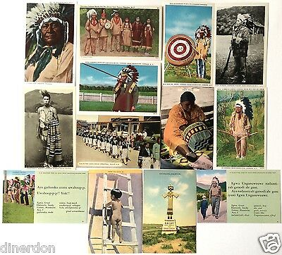 13 Different 1930s to 1950 AMERICAN INDIAN POSTCARDS Great Vintage! Great Price!