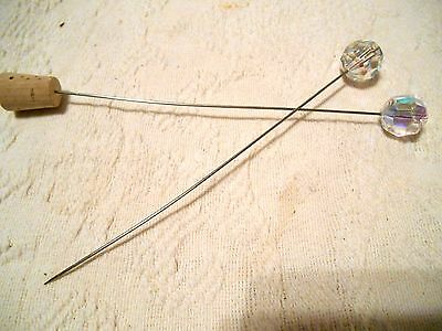 2- Vintage Hat Pins with Faceted Glass AB Tops