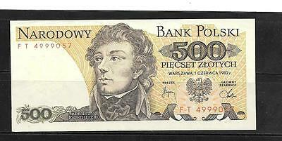 POLAND #145d 1982 UNUSED OLD 500 ZLOTYCH CURRENCY BANKNOTE NOTE PAPER MONEY
