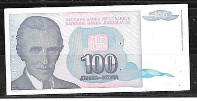 yugoslavia #139A 1994 unc 100 dinara old BANKNOTE PAPER MONEY CURRENCY BILL NOTE