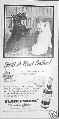 1954 Scotty & Westie Black & White Scotch STILL A BEST SELLER Ad
