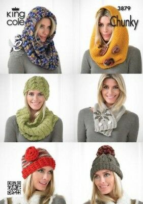 King Cole Ladies Hats, Cowls & Scarves Knitting Pattern 3879  Chunky (KCP...