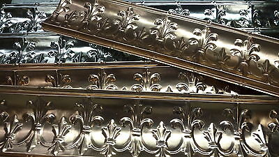 """Five (5) pieces of tin ceilings cornices (6.5"""" x 48"""") 2 in silver 3 in copper"""