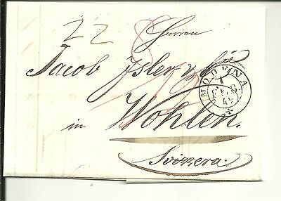Italy 1849 Pre Stamp Letter From Modena To Wohlen, Switzerland (117)
