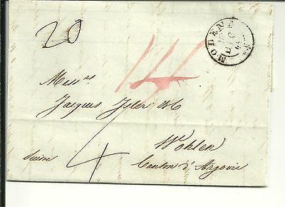 Italy 1849 Pre Stamp Letter From Modena To Wohlen, Switzerland (120)