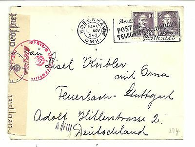 Denmark 1943 Wwii Censored Cover To Germany