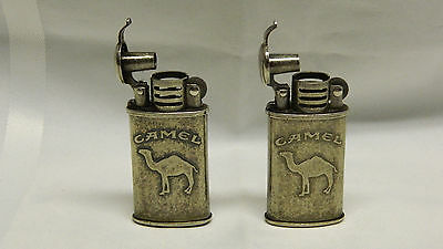 Lot of 2 CAMEL Fluid Lighters, Trench Style, Flip Top